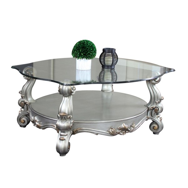 Acme Furniture Versailles Antique Clear Curved Glass Top Coffee Table ACM-86845