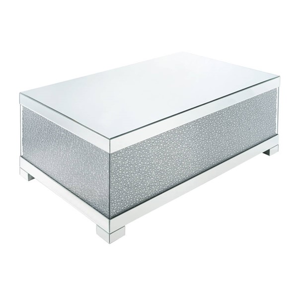 Acme Furniture Mallika Clear Glass Faux Crystals Wood Coffee Table ACM-87910
