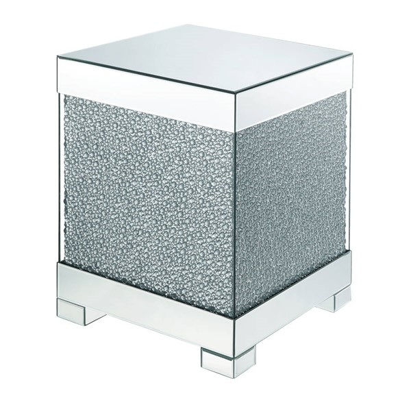 Acme Furniture Mallika Clear Glass Faux Crystals Wood End Table ACM-87912