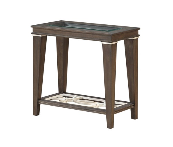 Acme Furniture Peregrine Walnut Wood Glass Side Table ACM-87993