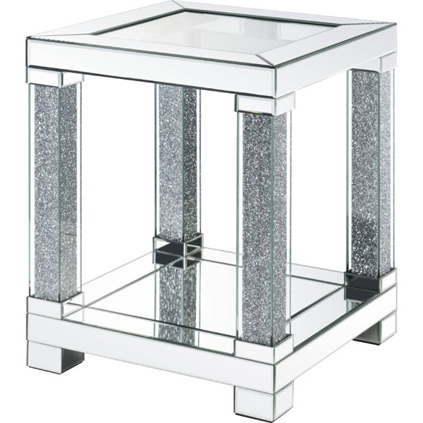 Acme Furniture Noralie Clear Storage Square End Table ACM-87997