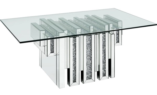 Acme Furniture Noralie Clear Glass Solid Base Coffee Table ACM-88000