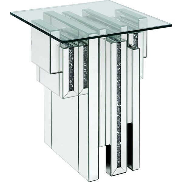 Acme Furniture Noralie Clear Glass Solid Base End Table ACM-88002