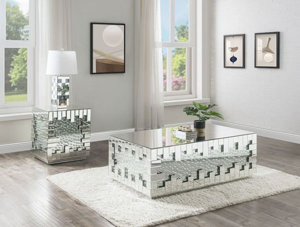 Acme Furniture Nysa Mirror 3pc Coffee Table Set ACM-88045-OCT-S1