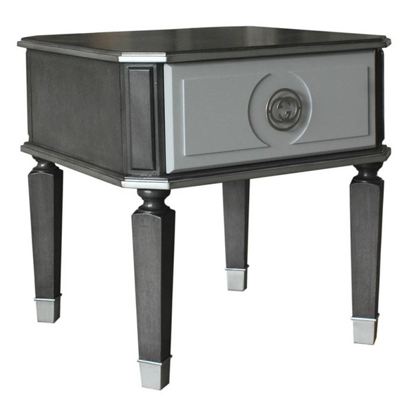 Acme Furniture House Beatrice Charcoal Light Gray End Table ACM-88817