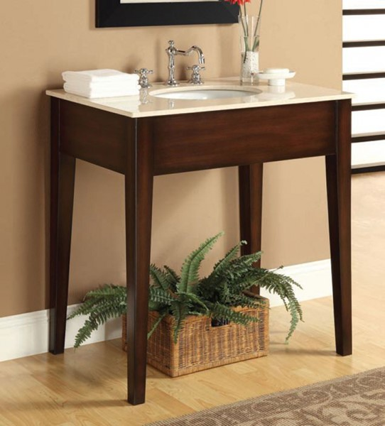 Tillie Cherry Wood Marble Sink w/White Marble Top ACM-90010