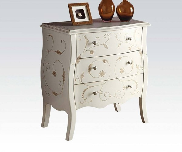 Issa White Wood Bombay Chest w/Painted Drawer ACM-90020
