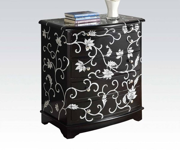 Judson Black Wood Bombay Chest w/Painted Drawer ACM-90022