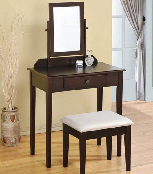 Jamy Espresso Wood Glass Vanity Set w/Drawer ACM-90040