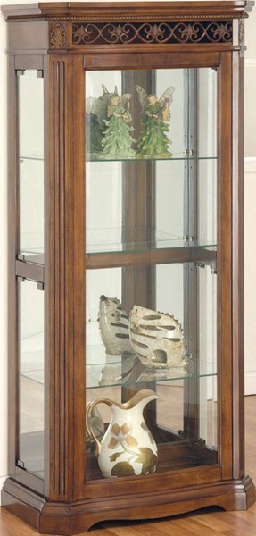 Alden Cherry Wood Glass Curio Cabinet w/Light ACM-90060