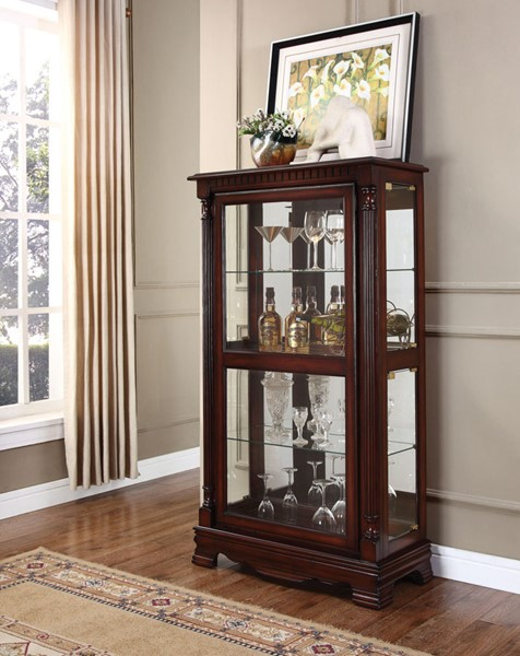 Acme Furniture Carrie Cherry Four Side Doors Curio Cabinet ACM-90066
