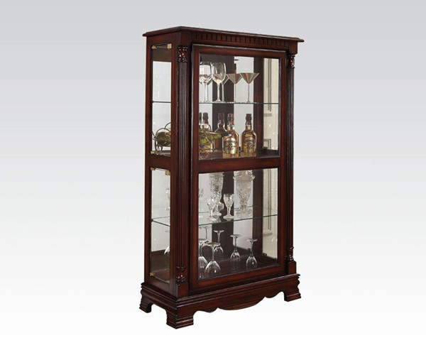 Carrie Cherry Wood Glass Curio Cabinet w/4 Side Doors ACM-90066