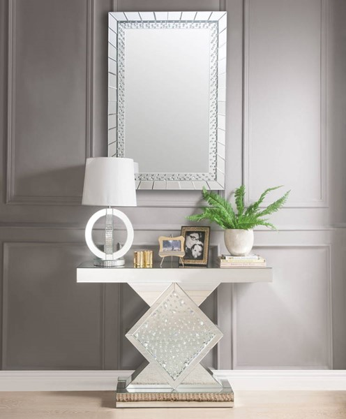 Acme Furniture Nysa Rectangle Console Table and Mirror ACM-90068-97386-S1