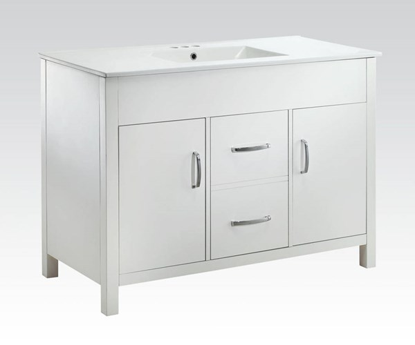 Kerra White Marble Wood Metal Sink Cabinet ACM-90079