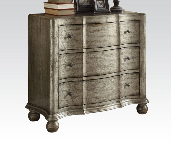 Edlyn Antique Silver Wood Console Table  w/3 Drawers ACM-90083