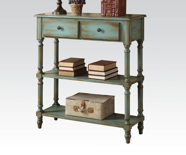 Laney Antique Green Wood Console Table w/2 Drawers ACM-90085