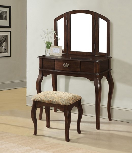 Acme Furniture Maren Cherry Vanity and Stool Set with Mirror ACM-90091-93-VNTY