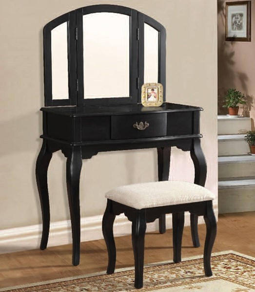 Maren Black Wood Vanity & Stool Set W/Mirror ACM-90097-99-VNTY