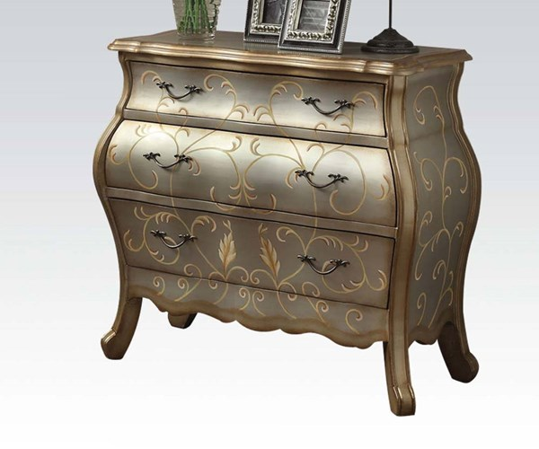 Vanas Silver Wood Metal Bombay Chest w/3 Drawers ACM-90109