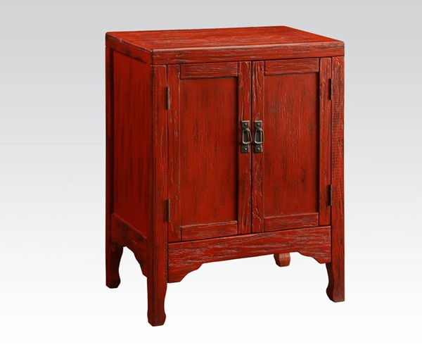 Caine Antique Dark Red Wood Console Table ACM-90116