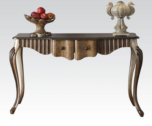 Bayley Bronze Taupe Wood Console Table w/2 Drawers ACM-90126