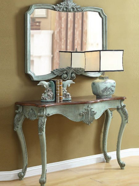 Blade Antique Light Blue Wood Glass Console Table W/Mirror ACM-90127-28