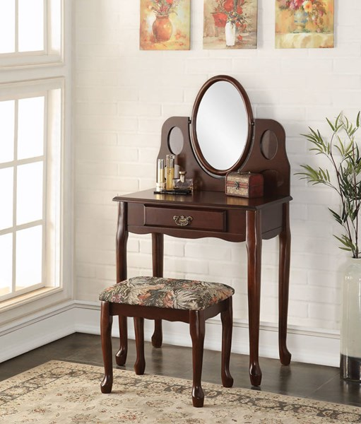 Aldine Espresso Wood Fabric Glass Vanity Set ACM-90211