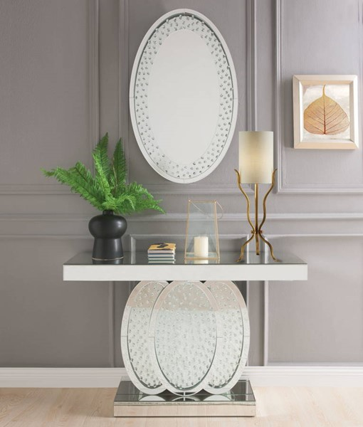 Acme Furniture Nysa Oval Base Console Table and Mirror ACM-90320-97022-S1