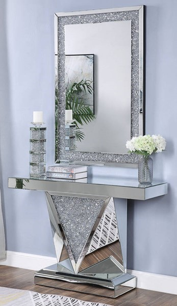 Acme Furniture Noralie Rectangle Solid Base Console Table and Mirror ACM-90448-97573-S1