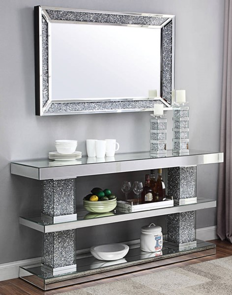 Acme Furniture Noralie Storage Shelf Console Table and Mirror ACM-90462-97572-S1