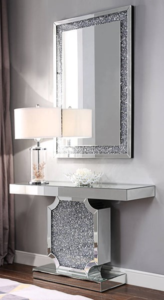 Acme Furniture Noralie Clear Console Table and Mirror ACM-90475-97573-S1