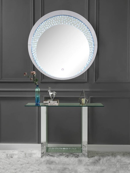 Acme Furniture Nysa Clear Glass Faux Crystal Wood Storage Console Table and Mirror ACM-90495-97590