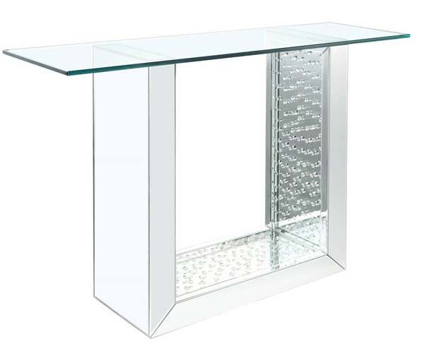 Acme Furniture Nysa Clear Mirror Faux Crystal Storage Console Table ACM-90495