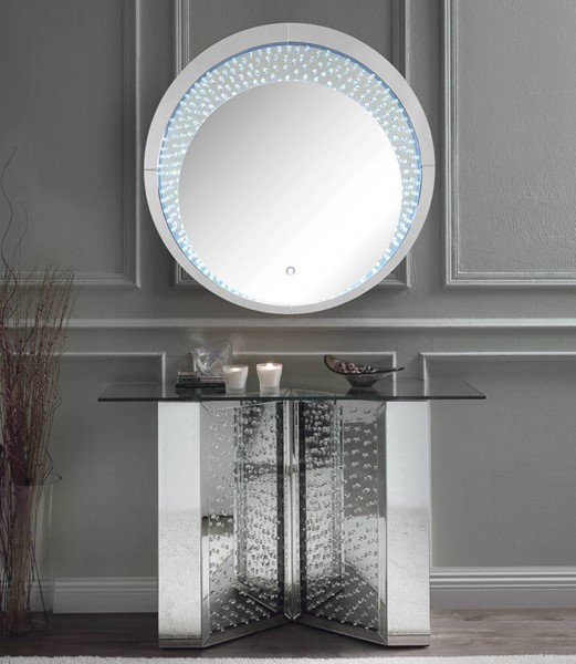 Acme Furniture Nysa Clear Glass Faux Crystal Console Table and Mirror ACM-90510-97590