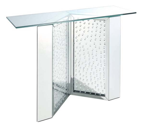 Acme Furniture Nysa Clear Mirror Faux Crystal Console Table ACM-90510