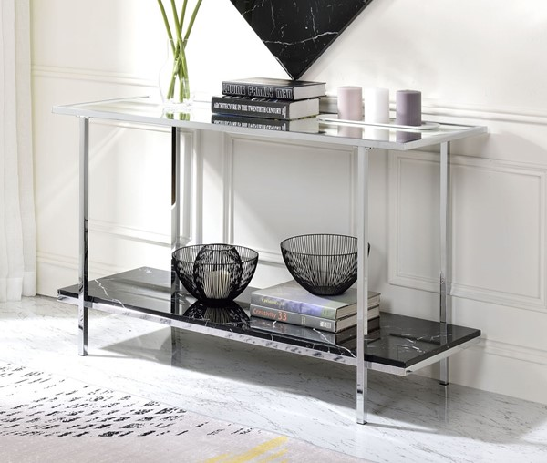 Acme Furniture Angwin Mirrored Chrome Console Table ACM-90515