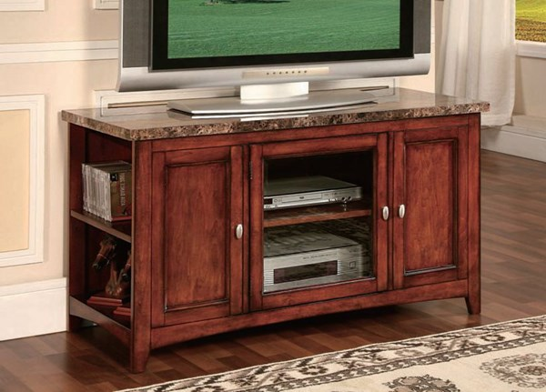 Finely Cherry Faux Marble Wood TV Stands ACM-91000-VAR