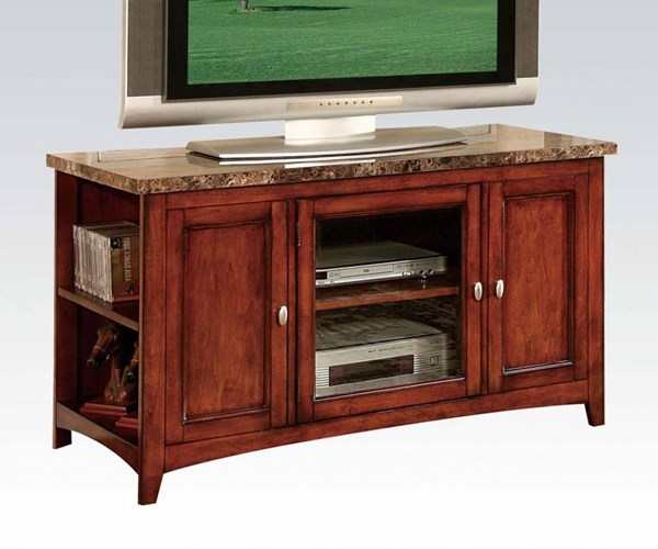 Finely Cherry Faux Marble Top Wood TV Stand w/1 Adjustable Shelf ACM-91000