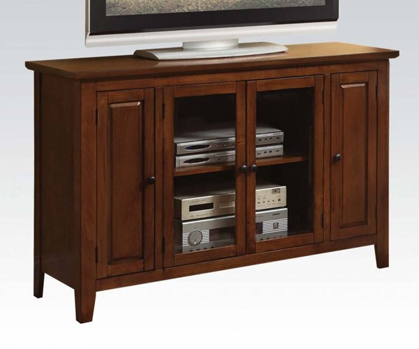 Vida Oak Wood Glass TV Stand w/Adjustable Shelf ACM-91012
