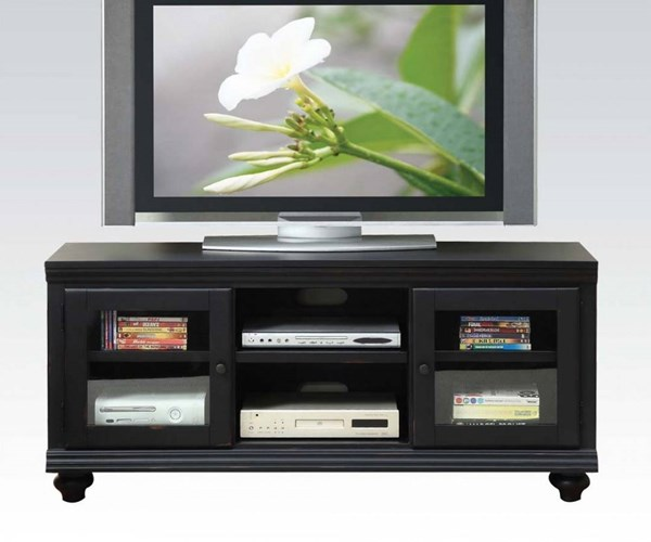 Barra Black Wood 3mm Clear Glass Door TV Stand ACM-91046