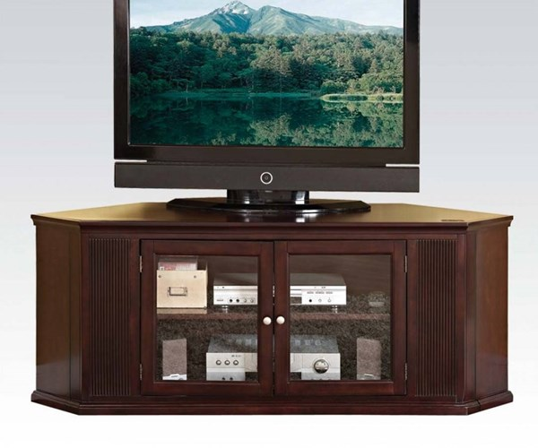 Matope Espresso Wood Corner TV Stand w/2 Doors ACM-91068