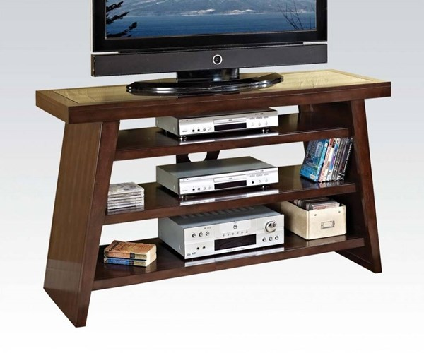 Jelani Brown Cherry Wood TV Stand w/3 Open Compartments ACM-91082
