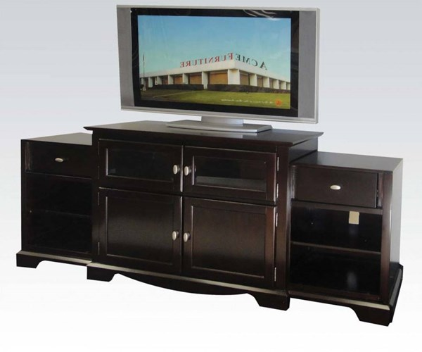 Lamesha Espresso Wood TV Stand w/Build In Side Cabinets ACM-91084