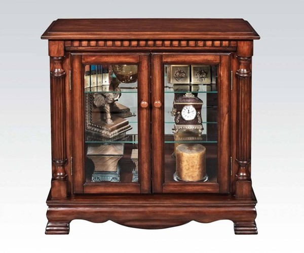 Gilby Cherry Wood Glass Curved Curio Cabinet ACM-91086