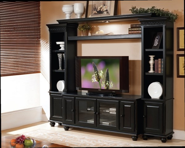 Ferla Traditional Black Wood Lighting Entertainment Center W/TV Stand ACM-91100-103-ENT