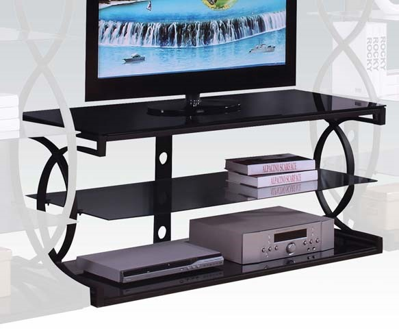 Milo Black Metal Glass TV Stand w/Shelves ACM-91128