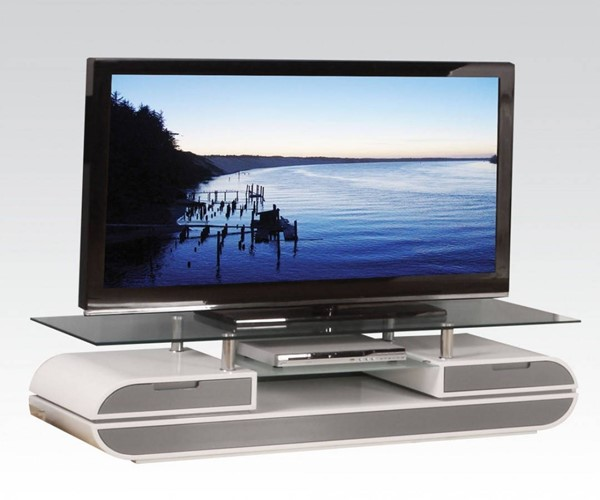 Lainey White Gray Wood Metal Glass TV Stand ACM-91142