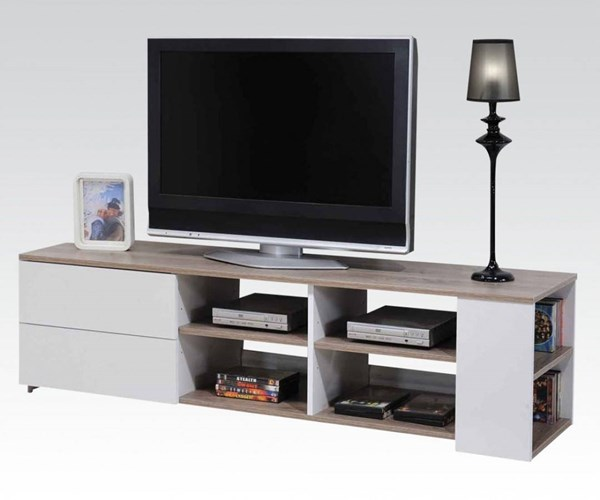 Cesar White & Beech Wood Metal TV Stand w/2 Drawers ACM-91170