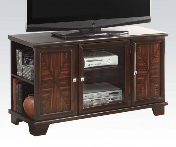 Austin Cherry Wood TV Stand w/3 Glass Doors ACM-91182