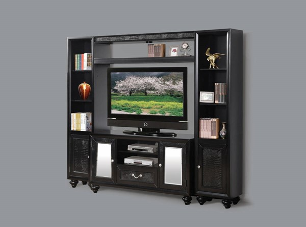 Caree Contemporary Black PU Wood Doors Entertainment Center ACM-91190-HOE-S1